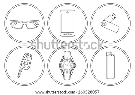 Every day carry detailed linear icons set. Sunglasses, mobile phone, usb flash drive, car keys, hand watches, gas lighter. Vector clip art illustrations isolated on white  - stock vector