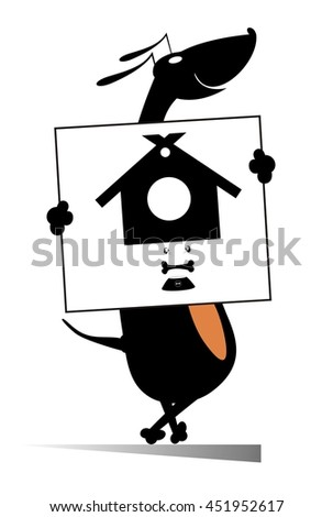 Every dog needs home and food. Smiling dog holding a banner with kennel and dog bowl in   - stock vector