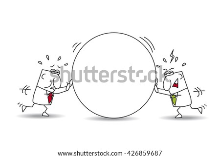 Every man for himself. Two businessmen are pushing a stone,  each their beside. This is the metaphor of the opposition, the competition or the individuality of businessmen. - stock vector