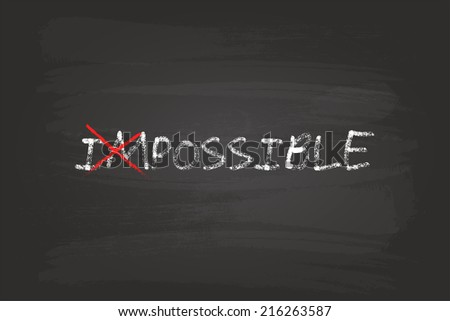 Everything Is Possible Concept On Blackboard - stock vector