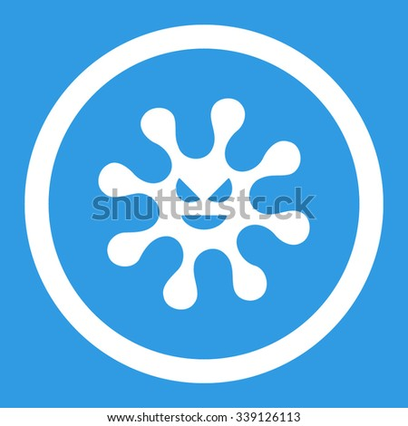 Evil Bacteria vector icon. Style is flat rounded symbol, white color, rounded angles, blue background. - stock vector