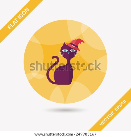 Evil cat flat icon with long shadow,eps10 - stock vector