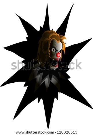 evil clown - stock vector