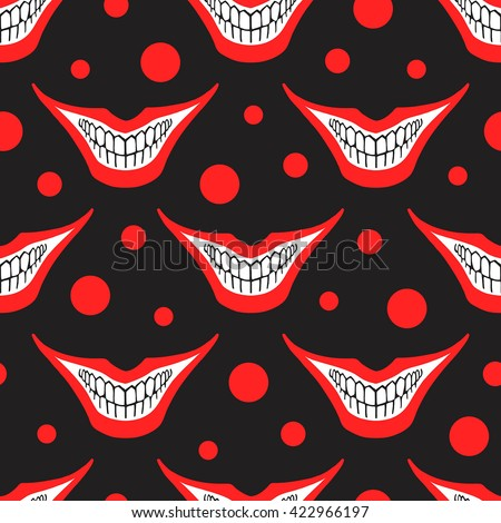 Evil clown or playing card joker smile with circles seamless vector pattern. Creepy, scary smiles with painted red lips and bared teeth texture. Fool's Day or Halloween funny background. - stock vector