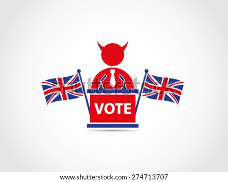 Evil Corrupt UK Britain Flags Cross Voting - stock vector