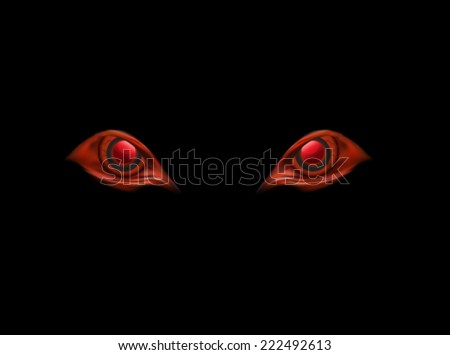 evil eyes on black vector background - stock vector