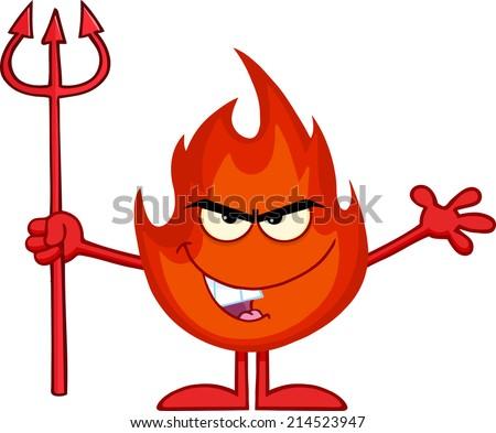 Evil Fire Cartoon Mascot Character Holding Up A Pitchfork - stock vector