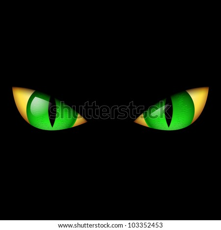 Evil Green Eye. Illustration on black background. - stock vector