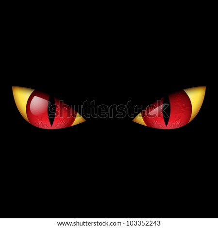 Evil Red Eye. Illustration on black background. - stock vector