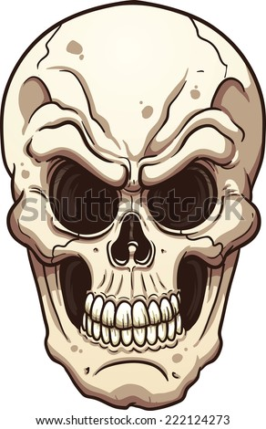 Evil skull. Vector clip art illustration with simple gradients. All in a single layer. - stock vector