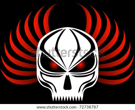 Evil Skull with Red Wings - stock vector