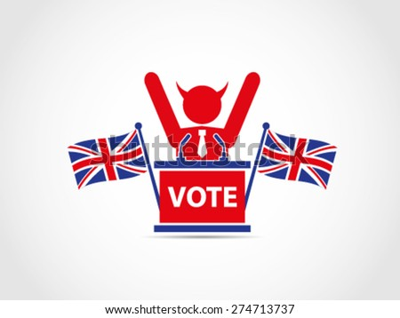 Evil UK Britain Win Elections - stock vector