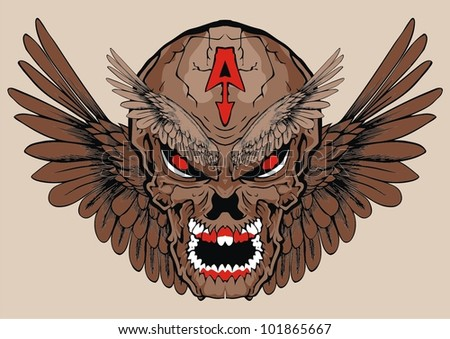 evil wing skull - stock vector