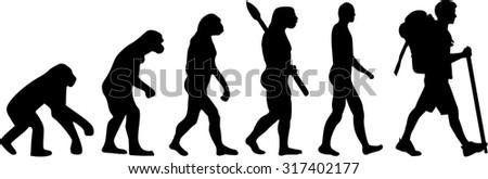 Evolution Hiker - stock vector