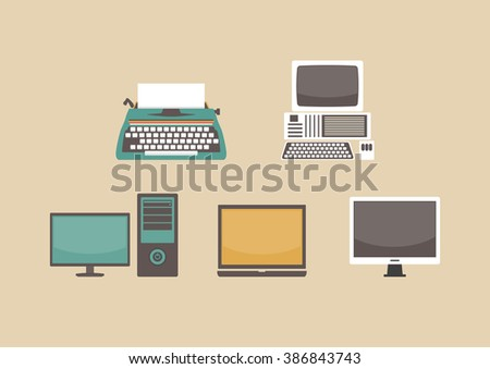 evolution of computer, former to present - stock vector