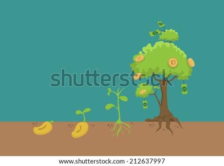 Evolution of money tree , eps10 vector format - stock vector