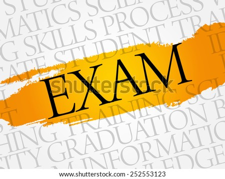 EXAM word cloud, education business concept - stock vector
