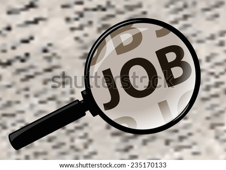 Examining job in magazine through a magnifying glass. - stock vector