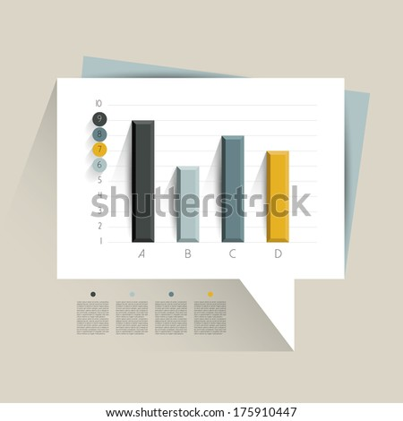 Example of business flat design graph. Infographics chart.  - stock vector