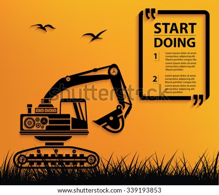 Excavate design,Your text on clean background,vector - stock vector