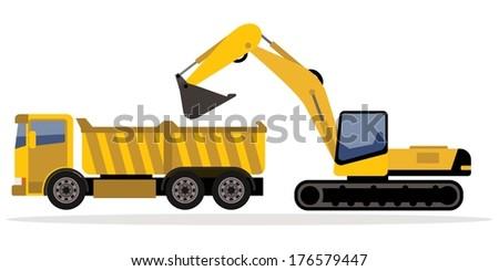 excavator and truck - stock vector