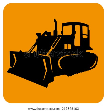 Excavator (bulldozer, grader) isolated. Vector icon.  Heavy earth moving road construction equipment. Sketch in black lines - stock vector