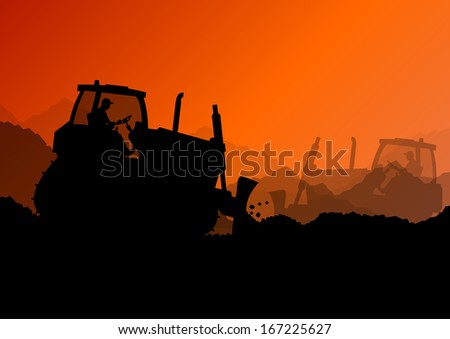 Excavator bulldozer loaders, tractors and workers digging at industrial construction site vector background illustration - stock vector