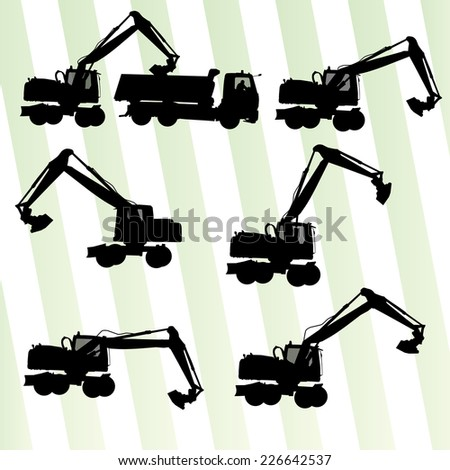 Excavator digger in action vector background set - stock vector