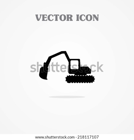 Excavator digger vector icon - stock vector