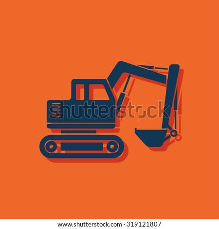 excavator icon - stock vector