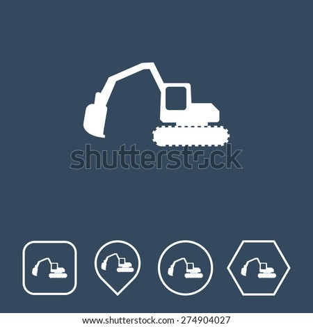 Excavator Icon on Flat UI Colors with Different Shapes. Eps-10. - stock vector