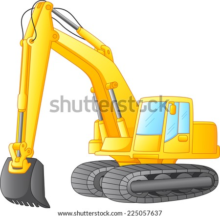 excavator isolated on white - stock vector