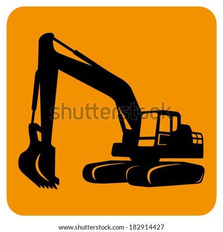 Excavator isolated. Vector icon. Sketch in black lines. Yellow background - stock vector