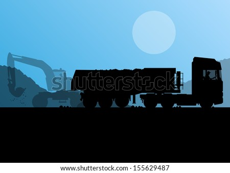 Excavator loader and heavy truck trailer at construction site with raised bucket vector background - stock vector