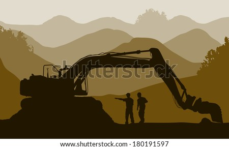 Excavator loader and workers at mine - stock vector