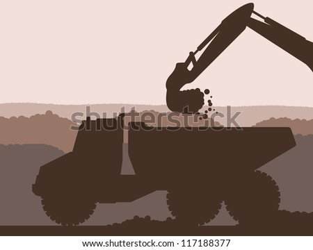 Excavator loader at building site with raised bucket and truck - stock vector