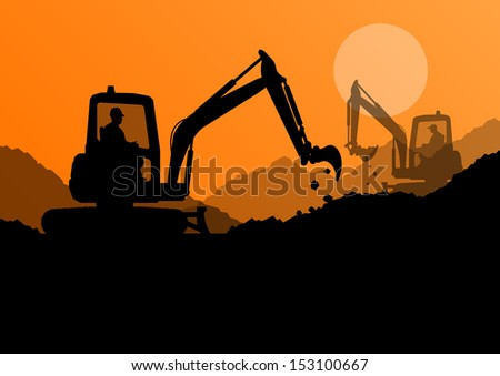 Excavator loaders and workers digging at construction site with raised bucket vector background - stock vector
