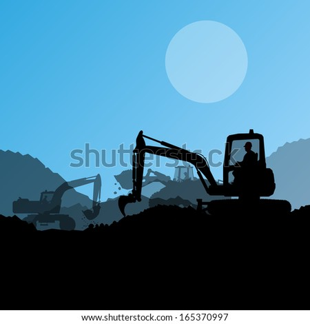 Excavator loaders, hydraulic machines, tractors and workers digging at industrial construction site vector background illustration - stock vector