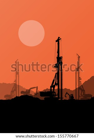 Excavator loaders, hydraulic pile drilling machines, tractors and workers digging at industrial construction site vector background illustration - stock vector
