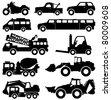 Excavator Motorcycle Truck Van Limousine Lorry Car Forklift Vehicle Transportation - stock vector