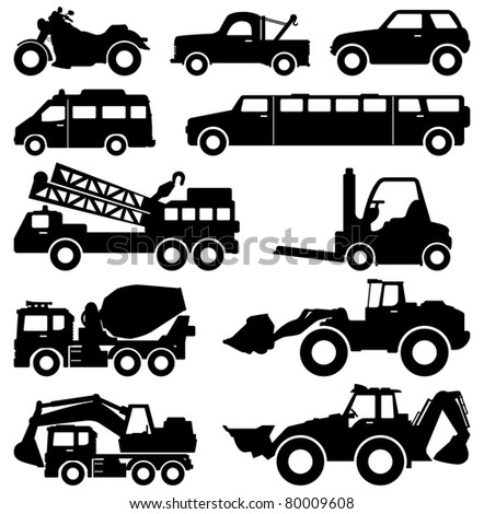 Excavator Motorcycle Truck Van Limousine Lorry Car Forklift Vehicle Transportation - stock vector