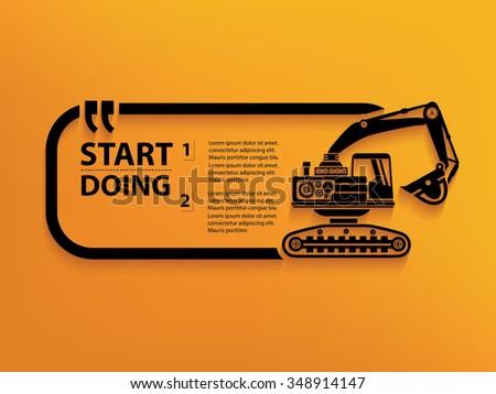 Excavator Quotation Mark Speech Bubble,design - stock vector