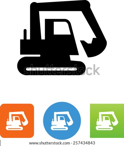 Excavator symbol for download. Vector icons for video, mobile apps, Web sites and print projects.  - stock vector