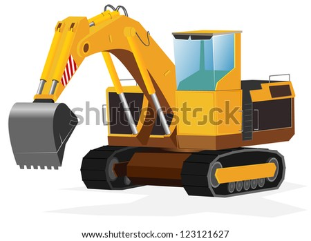 excavator. vector illustration - stock vector
