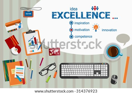 Excellence design and flat design illustration concepts for business analysis, planning, consulting, team work, project management. Excellence concepts for web banner and printed materials. - stock vector