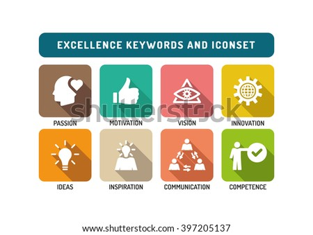 Excellence Marketing Flat Icon Set - stock vector