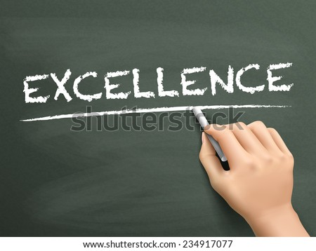 excellence word written by hand on blackboard - stock vector