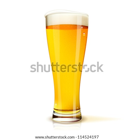 Excellent Isolated glass of beer with drops. Vector illustration - stock vector