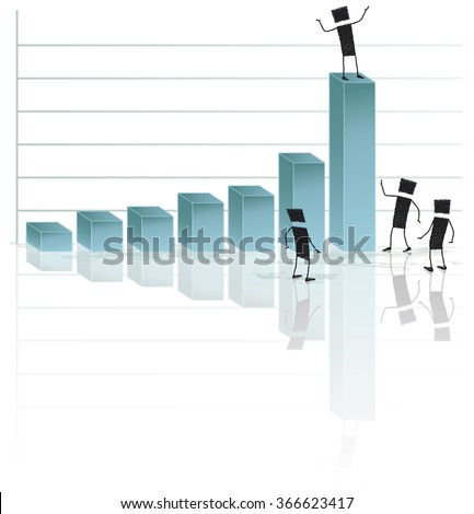 Excellent results. Vector illustration with several stick figures. They are looking at a graph showing improved results. EPS10 file. - stock vector