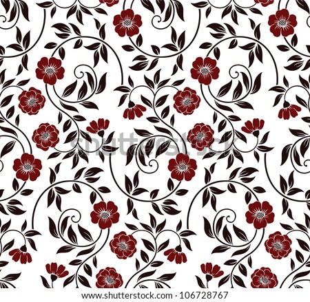 Excellent seamless floral background with flowers and leaves - stock vector